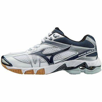 Mizuno Wave Bolt 6 Women's Volleyball Shoes - White & Navy - 430224