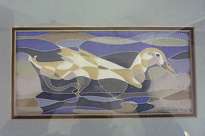 FRAMED Alice Woodrome limited edition Signed Numbered Quilted Duck serigraph