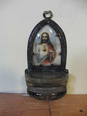 Antique Holy Water Font Brass Jesus Christ Picture Brass and Glass