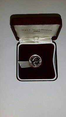 2001 Half Gold Sovereign 22ct Gold Coin with Box