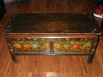 Antique Wood Prayer Table Bench Drawer Trunk Chest Primitive Hand Painted Asian