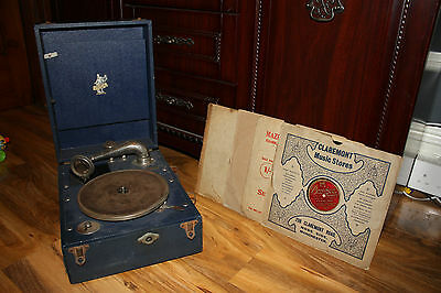 Antique Vintage Blue Apollo Record Player / Turntable With Four Records