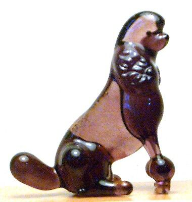 """Hand Blown """"murano"""" Glass Collectable Sitting Circus  Poodle Dog  Figurine"""
