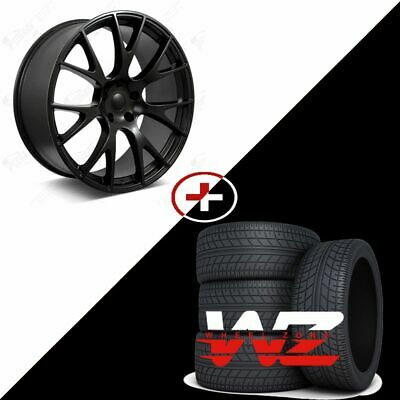 """Set of New 22"""" Aftermarket Hellcat Style Satin Black Staggered Wheels w/ Tires!"""