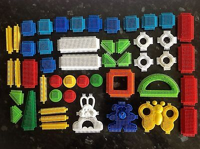 50 Stickle Bricks Of Various Shapes Including  A Teddy A  Butterfly & A Rabbit