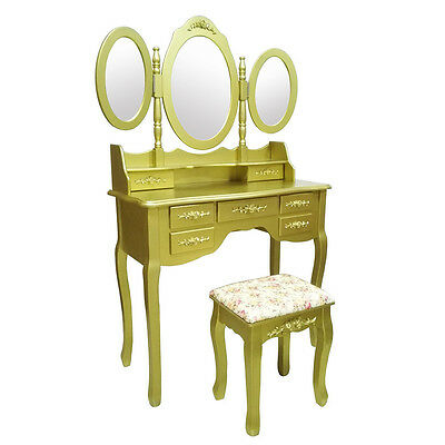 Gold Bedroom Dressing Table Makeup Desk With 7 Drawers 3 Oval Mirrors+Free Stool