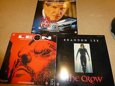 3x Laserdiscs Pal Air Force One (2 disc), The Crow and Leon