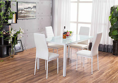 Designer Rectangle Glass Dining Table Set and 4 White Faux Leather Chairs Seats