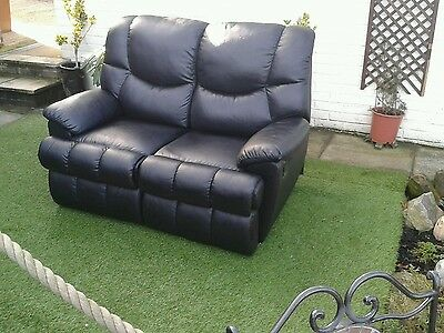 2 Seater Recliner Sofa In Black Vaux Leather