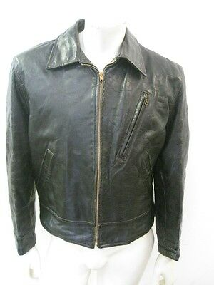 Vintage 1950s GRAIS HORSEHIDE Black Leather Motorcycle Jacket Size LARGE
