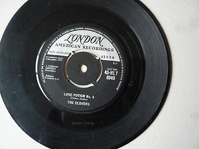 """THE CLOVERS - LOVE POTION  #9 - STAY AWHILE- 7"""" Single  UK PRESSING 1959 -LONDON"""