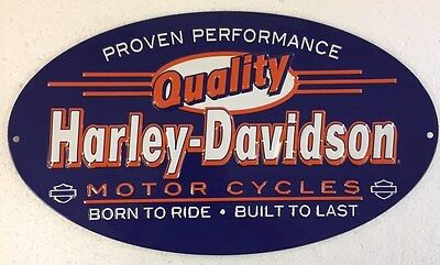 Ande Rooney HARLEY DAVIDSON QUALITY Tin Garage HD Motorcycle Oval Man Cave Sign