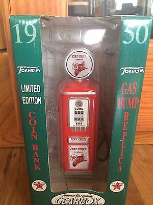 Gearbox 1950 Tokheim Texaco Fire Chief Gas Pump Coin Bank In Original Box