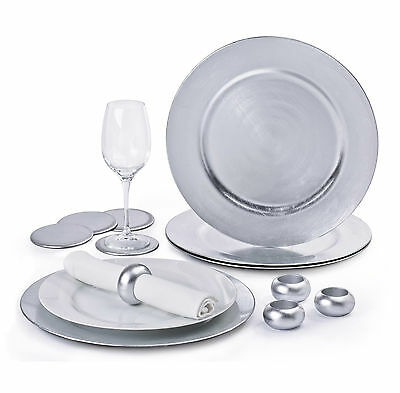 12 Piece Silver Charger Plate Set New in Box