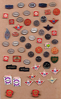 JOB LOT COLLECTION Vtg oil fuel petrol pin badges 1960s BP ESSO SHELL MOBIL OK