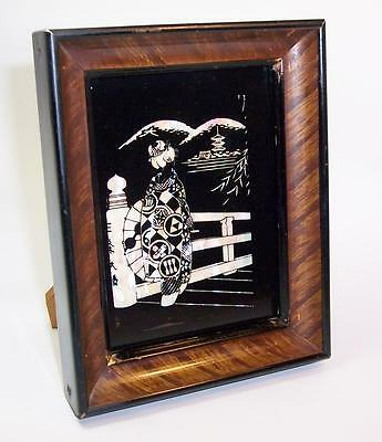Antique/Vintage JAPANESE Geisha MOTHER OF PEARL ART GLASS PICTURE Wood Frame