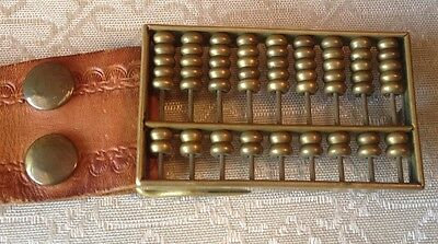 Solid Brass ABACUS BELT BUCKLE & Leather Belt