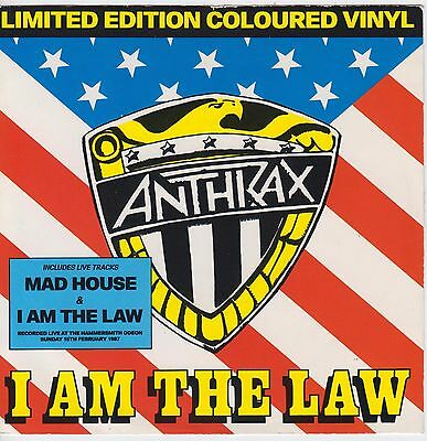 """Anthrax - I Am The Law Ltd Edition Red Vinyl 7"""" Pic Sleeve Single Ex"""