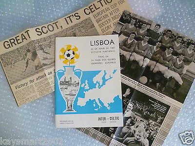 1967 European Cup Final Programme+Cutting CELTIC v INTER MILAN (Original, Exc*)