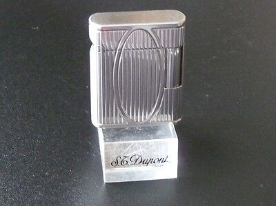 "S T Dupont ""SOUBRENY"" Silver Plated Lighter, Very Good Used Condition"