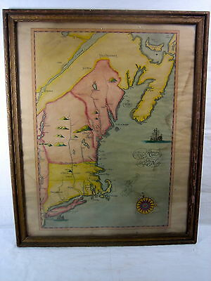 Rare early 20th C. Map American New England Canada Litho Primitive Hand Color