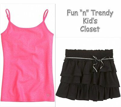 NWT Justice Girls Size 10 Skirt Skort & Pink Cami Tank Top Shirt 2-PC OUTFIT SET