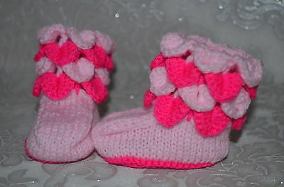 hand knitted  baby boots 0-3 months *50