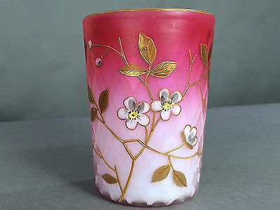 RARE 1880's Pink Cased Satin Art Glass Quilted MOP Enamel Decorated Tumbler