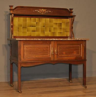 Attractive Large Antique Victorian Inlaid Mahogany Washstand, Tile Gallery Back