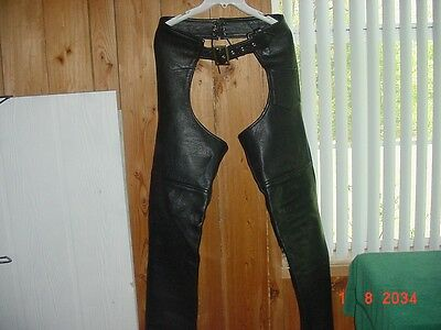 Leather Motorcycle Chaps Antelope Creek Borger Texas Size XS Good Condition !!