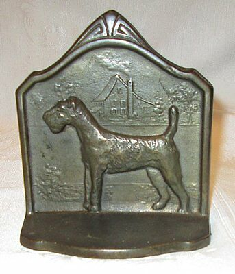 1929 Connecticut Foundry Cast Iron Bronze Finish Wire Haired Fox Terrier Bookend
