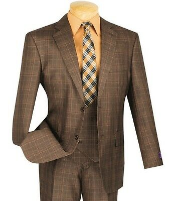 Men's Brown Glen Plaid 3 Piece 2 Button Classic-Fit Suit NEW w/ Matching Vest