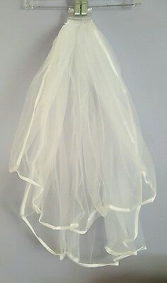 Beautiful 2 layer deluxe satin edged bridal wedding veil *New*  30 in. long!
