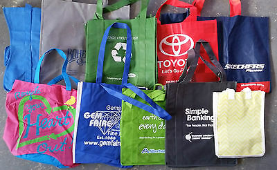 Lot of 10 Reusable Recycled Material Grocery Shopping Tote Bags-Advertising