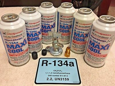 R134a, Interdynamics, R-134a, MAXI-COOL, Performance A/C Booster. (6) 3 oz. Cans