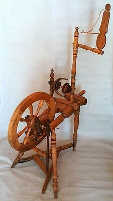 Antique Unique Primitive Old Wooden Spinning Wheel (With Wooden Nails)