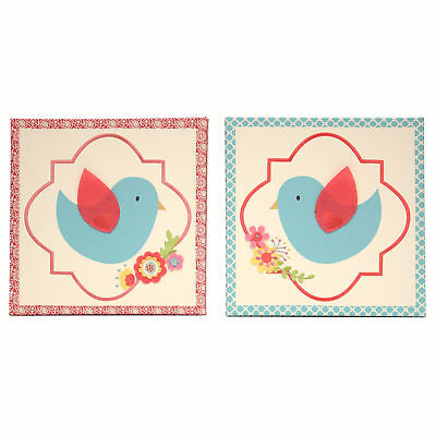 Mila Blue and Coral Birds and Flowers Canvas Wall Art - Set of 2 by Peanut Shell