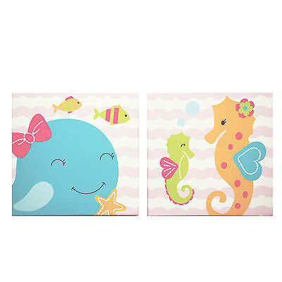 Sea Sweeties Canvas Wall Art Cute Whale Seahorse by Belle