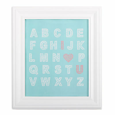 Gia Framed Wall Art Gallery Alphabet ABC Aqua White by The Peanut Shell