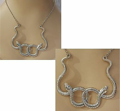 Silver Entwined Snakes Pendant Necklace Jewelry Handmade NEW Accessories