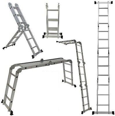 Multi Purpose 12.5 Foot Aluminum Alloy Heavy Duty Scaffold Ladder Foldable New