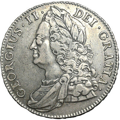 George II. Crown. 1743..   Good Very Fine..  7075.