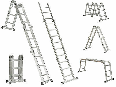 Multi Purpose 15.5 Foot Aluminum Alloy Heavy Duty Scaffold Ladder Foldable New