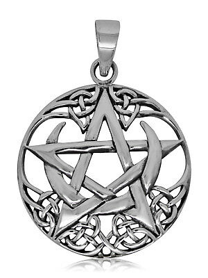 925 Solid Sterling Silver Celtic Wicca Neo Pagan Pentagram with Moon pendant