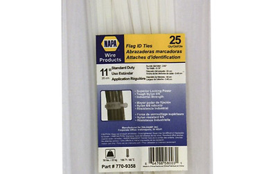 "NAPA 11"" Flag ID Indentifying Marker Pad Cable Zip Ties 50 Lbs 25 Ct 770-9358"