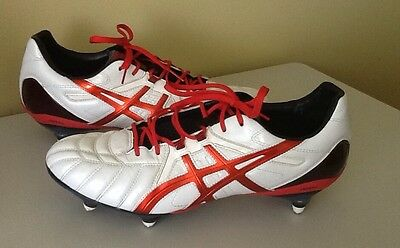 Asics Hg10 White And Red Football Boots Size 12Us In Euc