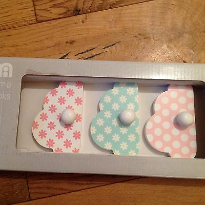 Mothercare Pack Of 3 Butterfly Fields Decorative Wall Hooks