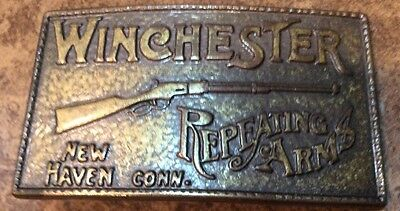 Winchester Repeating Rifle Belt Buckle Brass Vintage 1970s Belt Buckle