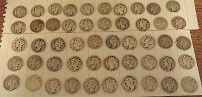 US $5 Mercury head dime roll 50 coin Winged Liberty 10 cents dimes 90% silver