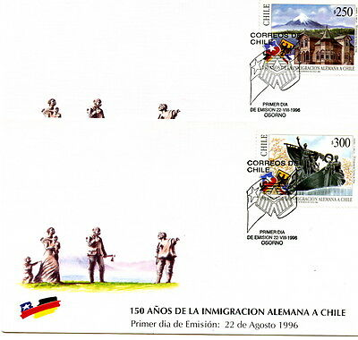 Chile 1996 2 FDC´s 150 years German Migration to Chile